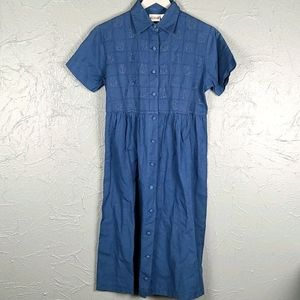 VINTAGE TWO TWENTY Blue Embroidered Dress Small